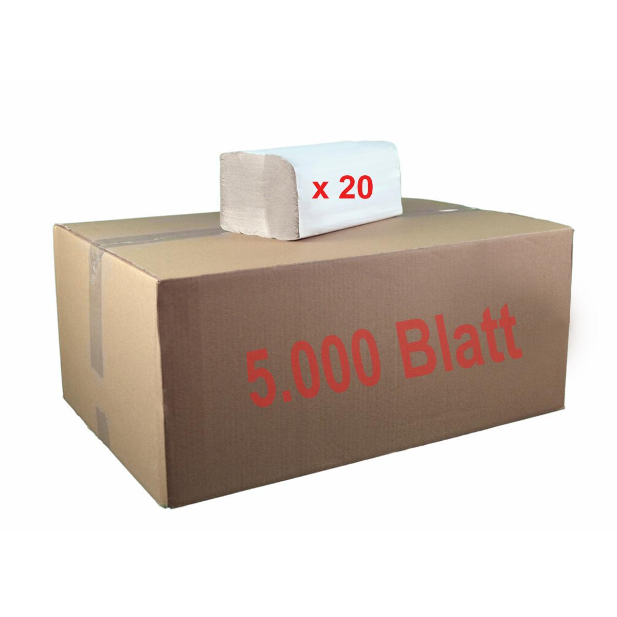 Papierhandtücher, 1-lagig, ZZ-Falzung (Zick-Zack)