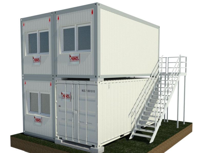 Treppensystem / Aufgangsmodul längsseitig & Laufsteg stirnseitig / Lagercontainer