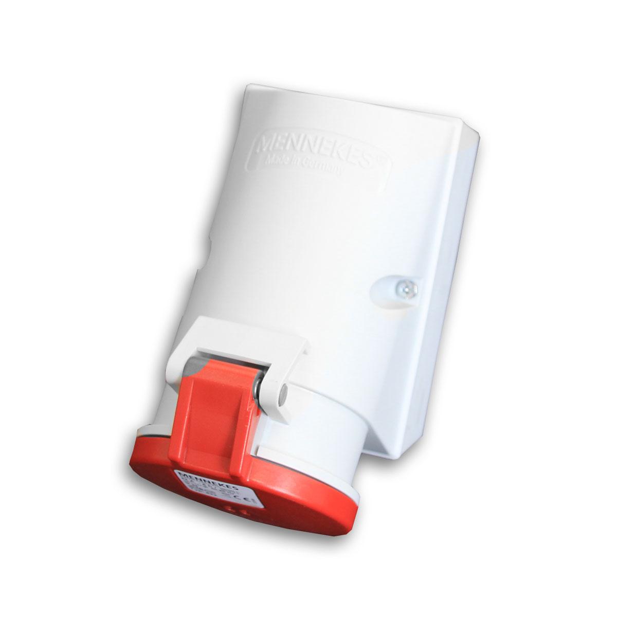 Wandsteckdose mit TwinCONTACT® 32A 5-polig 6h 400V IP44 - Mennekes 422